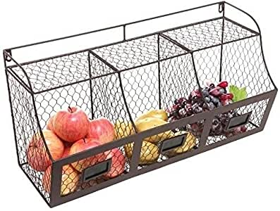 Rustic Brown Metal Wire Wall Mounted Hanging Fruit Basket Storage Organizer Bin ;supply_from:rrs_25