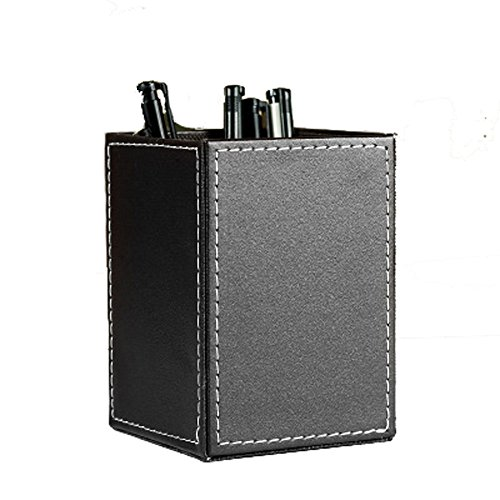 Iremico Colorful PU Leather Square Pencils Holder Desktop Stationery Organizer for Home Office (Black)