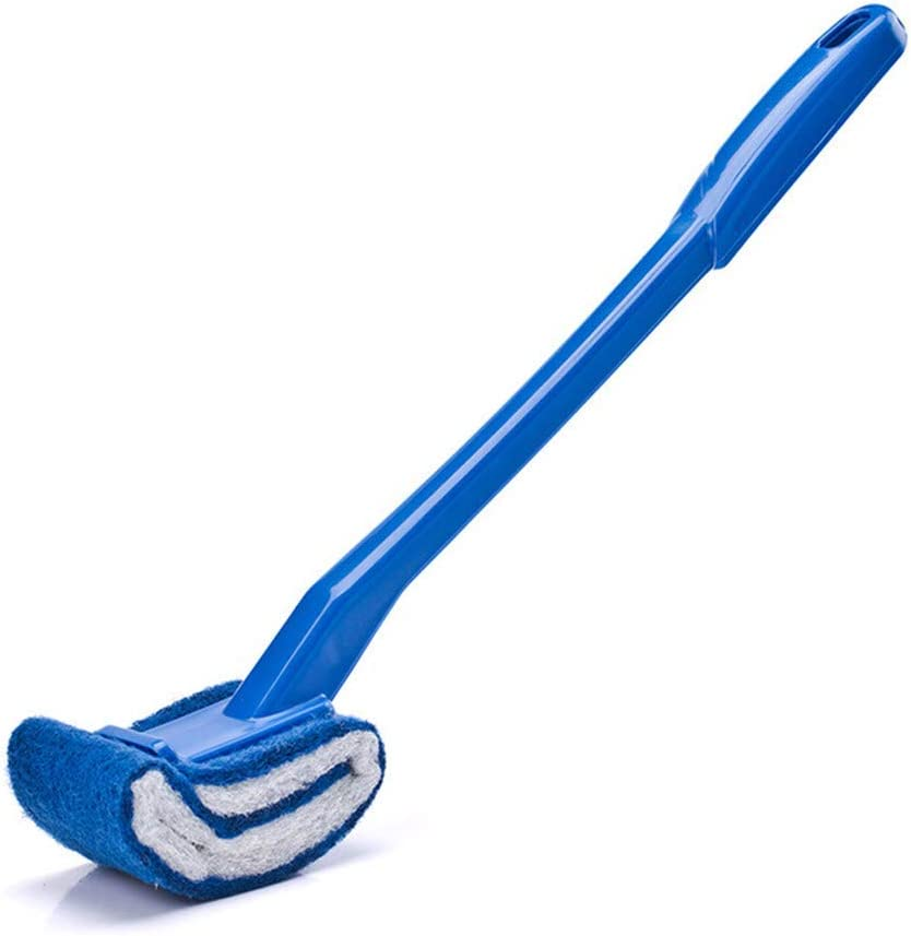 2PCS Toilet Brush Scrubber Rim V-type Cleaner Clean Bent Bowl Handle Random