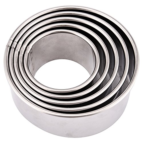 Kspowwin 5 Pieces Stainless Steel Cookie Cutters Biscuit Plain Edge Round Cutters in Graduated Sizes Shape Molds 5Pcs