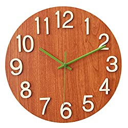 A.Cerco Non Ticking Silent Curve Glass Wall Clock - 12 Beech Wood
