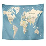 Emvency Tapestry Blue Country World Map High Detailed of Worldmap Beige Home Decor Wall Hanging for Living Room Bedroom Dorm 50x60 inches
