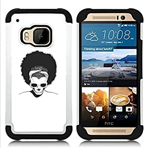 GIFT CHOICE / Defensor Cubierta de protección completa Flexible TPU Silicona + Duro PC Estuche protector Cáscara Funda Caso / Combo Case for HTC ONE M9 // Afro Skull //