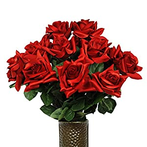 Red Diamond Rose Artificial Bouquet, featuring the Stay-In-The-Vase Design(c) Flower Holder (MD1338) 53