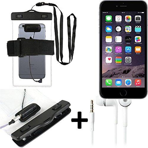 Estuche estanco al agua con entrada de auriculares para Apple iPhone 6 + auricular incluido, transparente   Trotar bolsa de playa al aire libre caja brazalete del teléfono caso de cáscara bajo playa -