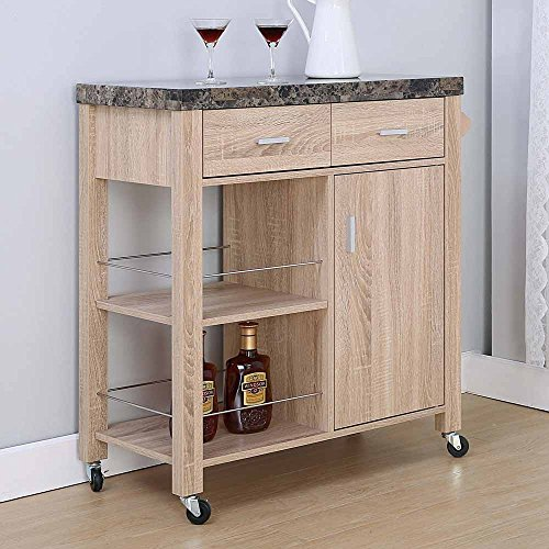 1PerfectChoice Kitchen Island Buffet Serving Cart Cabinet Drawer Faux Marble Top Natural Wood (Kitchen Cabinet Faux Drawer compare prices)