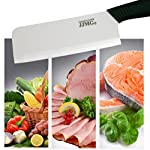 JJMG Ceramic Meat Cleaver Knife Sharp Durable Twice Thicker than Leading Brands non-slip grip Handle Zirconium Blade Cut Slice Dice Steak Pork Chicken Cheese Rust Wear Resistance 10 SHARP & DURABLE LONG LASTING SHARPNESS: Perfect for Cutting Slicing Mincing & Dicing Meat Cheese and Vegetables. Made of High Quality Ceramic, 60 times more Wear-Resistant than Metal knifes. Easy to Maintain, Holds its Sharp Edge. The knifes blades are made by Zirconium, only diamonds are harder, and stays sharp 15 times longer. NO RUST & BPA-FREE: Rust Resistant, Anti-acid and Alkali Material, Non-toxic, No Contamination, No Metal smell, Easy to Use. will retain its original sharpness up to 15 times longer than steel blades. You will never need sharpening any more! NO OXIDATION: Keep your vegetables free from oxidation when cutting with these ceramic knifes. Keep your vegetables meat & food fresh for a longer period of time.