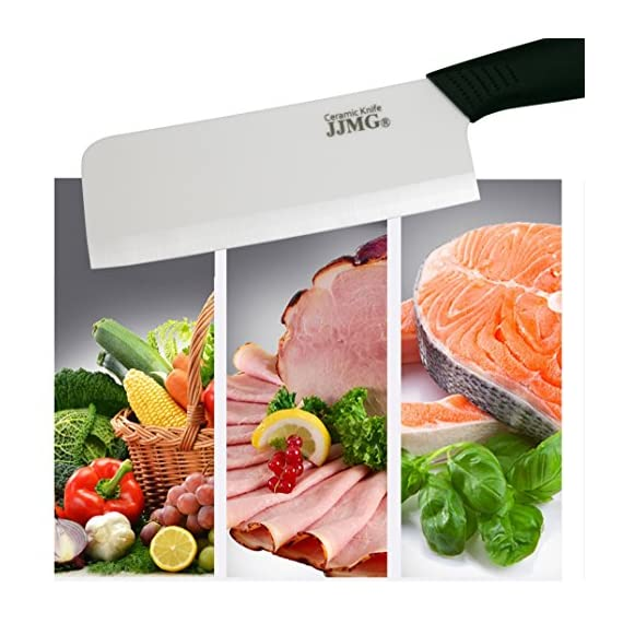 JJMG Ceramic Meat Cleaver Knife Sharp Durable Twice Thicker than Leading Brands non-slip grip Handle Zirconium Blade Cut Slice Dice Steak Pork Chicken Cheese Rust Wear Resistance 2 SHARP & DURABLE LONG LASTING SHARPNESS: Perfect for Cutting Slicing Mincing & Dicing Meat Cheese and Vegetables. Made of High Quality Ceramic, 60 times more Wear-Resistant than Metal knifes. Easy to Maintain, Holds its Sharp Edge. The knifes blades are made by Zirconium, only diamonds are harder, and stays sharp 15 times longer. NO RUST & BPA-FREE: Rust Resistant, Anti-acid and Alkali Material, Non-toxic, No Contamination, No Metal smell, Easy to Use. will retain its original sharpness up to 15 times longer than steel blades. You will never need sharpening any more! NO OXIDATION: Keep your vegetables free from oxidation when cutting with these ceramic knifes. Keep your vegetables meat & food fresh for a longer period of time.