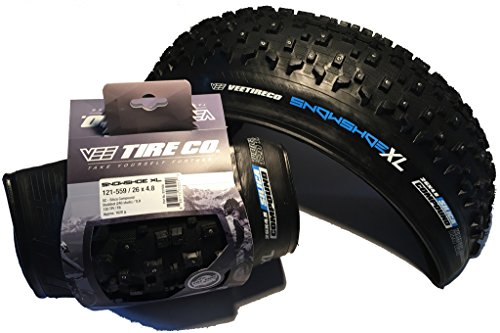 Vee - Pair of 2 Rubber 26x4.8 Studded Snow Shoe XL Fat Tires Folding Bead Silica Compound