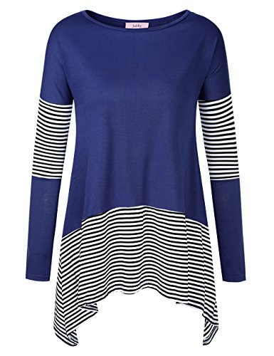 Jubby Women's Striped A Line Long Sleeve Round Neck Flared Swing Tunic Top Small (Striped Neck Wrap)