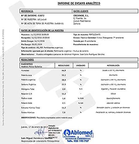 crickwoo Humus de lombriz Puro 42L (25kg): Amazon.es: Jardín
