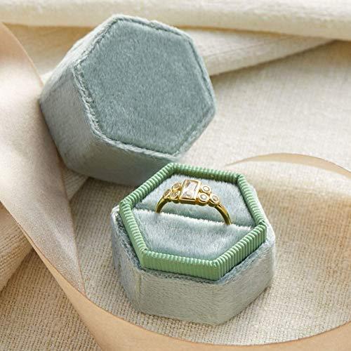 Velvet Ring Box Soft Green, Hexagon Shape, Engagement Ring Box, Ring Bearer Box, Wedding Ring Box, Wedding Photo Shoot, Engagement Photo Shoot, Bridal Gift]()