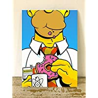 "Cuadro decorativo Moderno - Pintura ""Homero Simpson rosquilla"" cuadros de los simpson cuadros de caricaturas cuadro decorativo para pared en canvas pintura acrilica para decoracion hogar sala comedor oficina pintura original hecha a mano fashion art vintage decor home decor decoración retro hipster cool arte pintura colorida para sala de estar art wall pintura decorativa decoración para pared cuadros para pared."