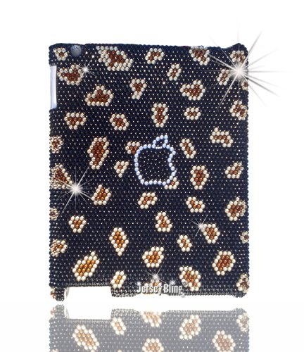 Jersey Bling® LEOPARD, iPad 2/3/4 Crystal & Rhinestone Snap On Back Cover Case