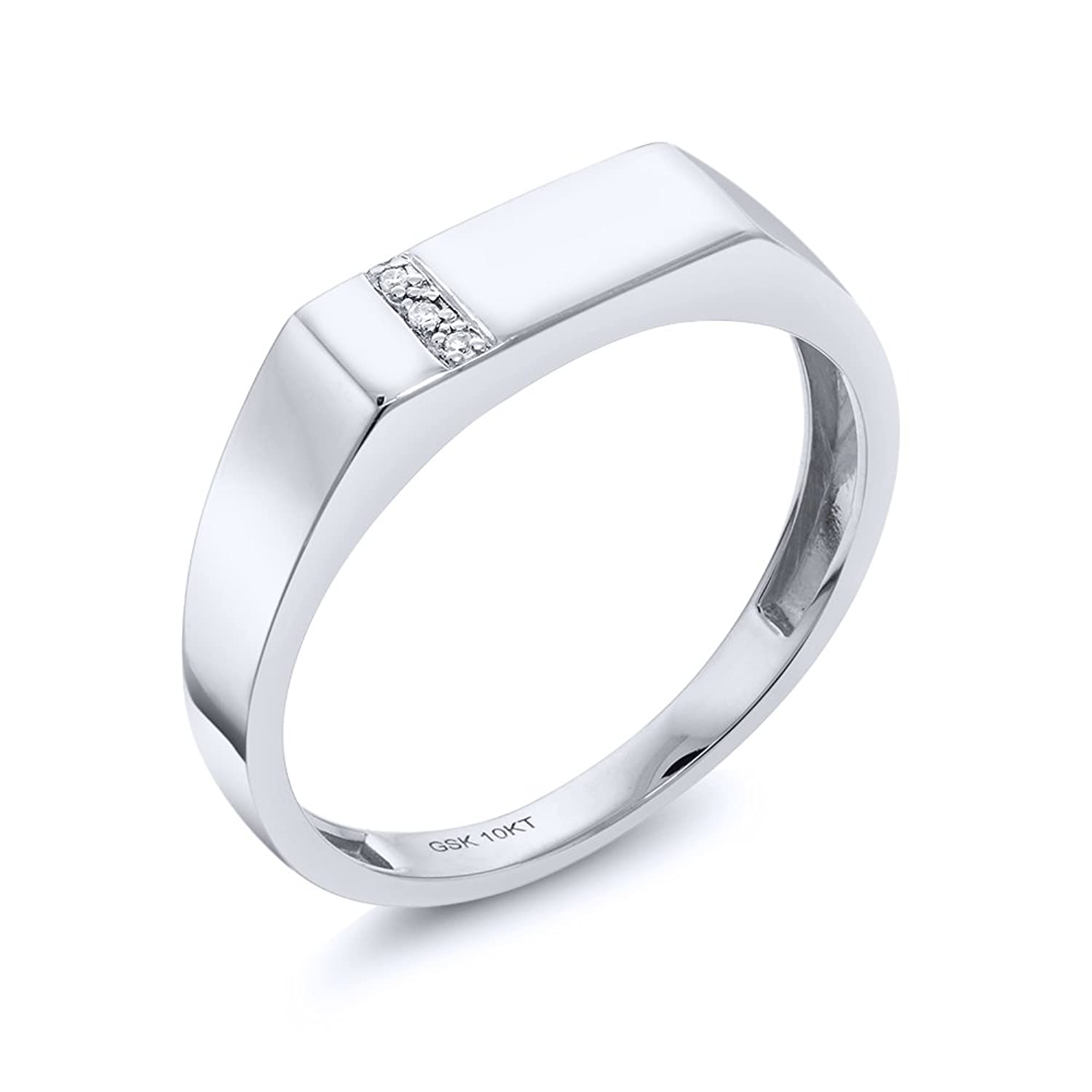 10K Solid White Gold Men's White Diamond Wedding Anniversary Ring (Available in size 7, 8, 9, 10, 11, 12, 13)