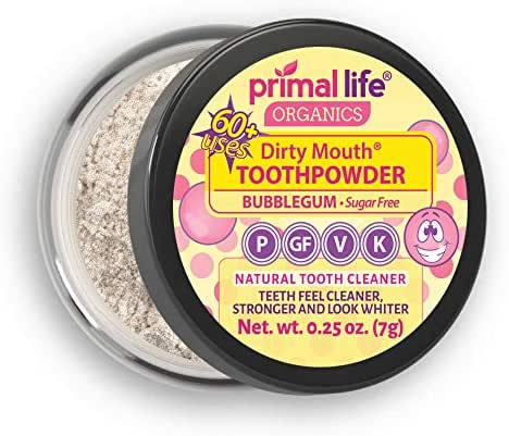 Primal Life Organics | Dirty Mouth Organic Tooth Powder | Gently Polishes, Whitens, Re-Mineralizes, Strengthens Teeth | 0.25 ounces (1 month supply) | Sweet Bubblegum