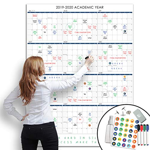 Lushleaf Designs - 2019-2020 Dry Erase Academic School Year Calendar - 36x48 Inches - Large Month Planner Whiteboard Poster - Starts on July 2019 to June 2020 (Best 48 Inch Refrigerator 2019)