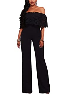 Halfword Womens Off Shoulder High Waisted Long Wide Leg Jumpsuits Rompers