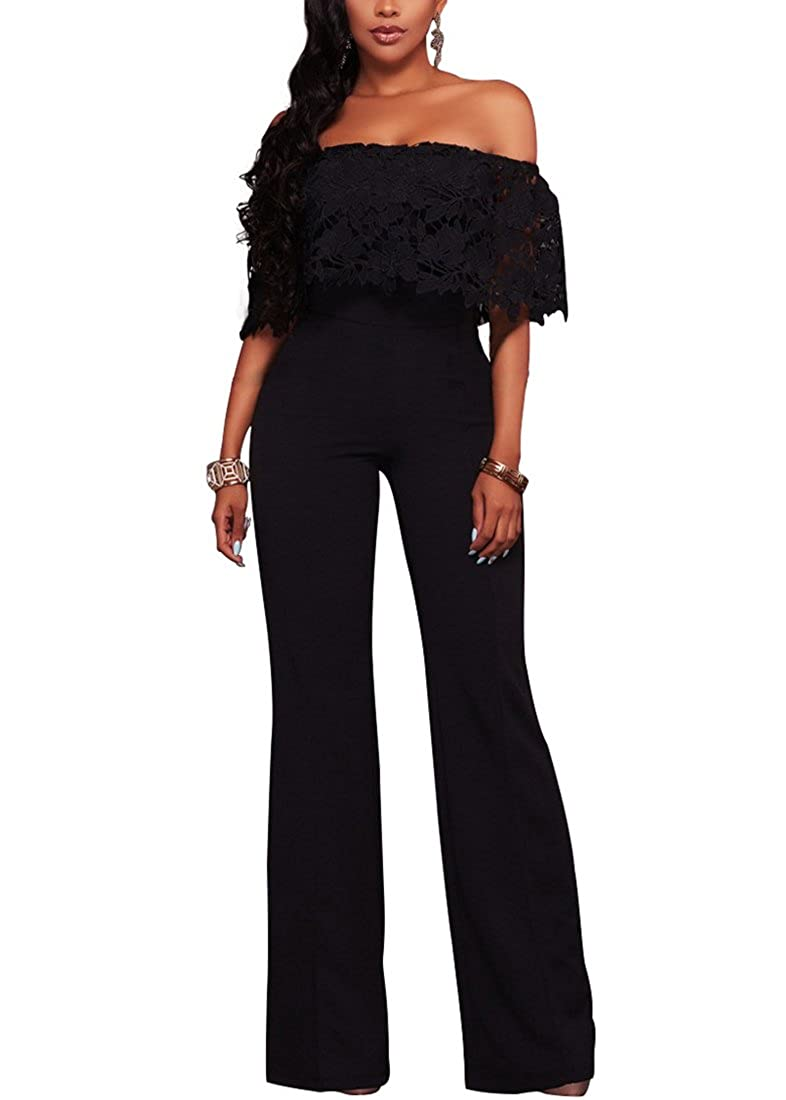 28e6049c7762 Amazon.com  Halfword Womens Off Shoulder High Waisted Long Wide Leg  Jumpsuits Rompers  Clothing