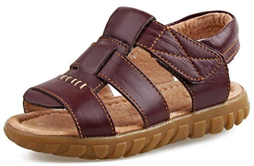 SKOEX Baby's Boy's Leather Open Toe Outdoor Sandals (Toddler/Little Kid) US Size 9.5M,Brown B