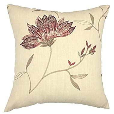 YOUR SMILE®Decorative Throw Pillow Case Cushion Cover Cotton Embroidered Jacquard Flower 18x18 (Dark Red)