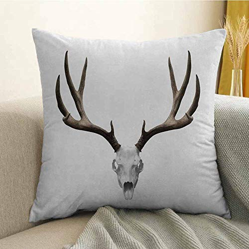 FreeKite Printed Custom Pillowcase Decorative Sofa Hug Pillowcase A Deer Skull Skeleton Head Bone Halloween Weathered Hunter Collection W16 x L24 Inch Warm Taupe Light Grey ()