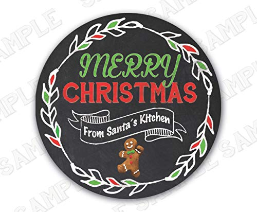 Chalkboard Christmas Cookie Exchange Labels for Baked Goods 3-inch Round, 6 labels -