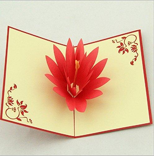 BC Worldwide Ltd Lotus Flower 3D Pop Up Grußkarte - Handmade Origami Papier Handwerk Kunst 3D popup rote Lotus Orange Staubgefäße Valentines Karte Geburtstag saisonale Gruß Muttertag Hochzeit Einladung Xmas Karten