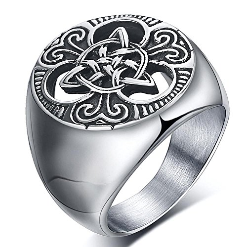 Steel Stainless Ring Vintage - enhong Mens Celtic Knot Signet Rings Round Vintage Stainless Steel Ring for Biker Size 7