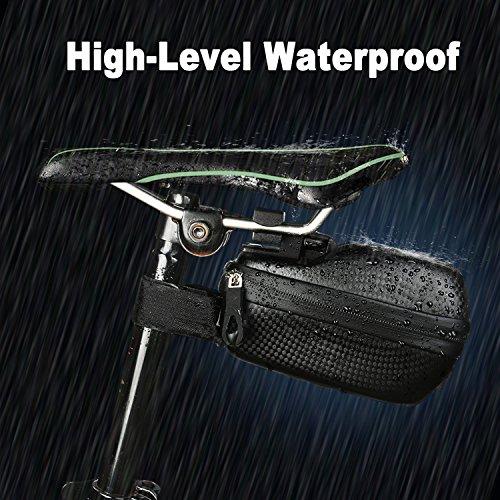 MOREZONE Bicycle Saddle Bag Strap On Seat Bags MTB Bike Cycling Seat Pack Rainproof (Black)