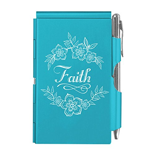 - Wellspring Flip Note, Metal Pocket-sized Notebook with Pen, Blue, Faith (2238)