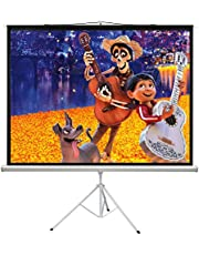 PERLESMITH 100 Inch Projector Screen with Stand Portable for Outdoor Indoor - 4:3 Pull up Foldable Height Adjustable Wrinkle-Free Projection Screen Tripod for Movie, Home Theater, Gaming, Office