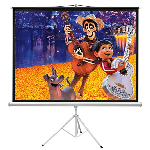 PERLESMITH 100 Inch Projector Screen with Stand Portable for Outdoor Indoor - 4:3 Pull up Foldable Height Adjustable Wrinkle-Free Projection Screen Tripod for Movie