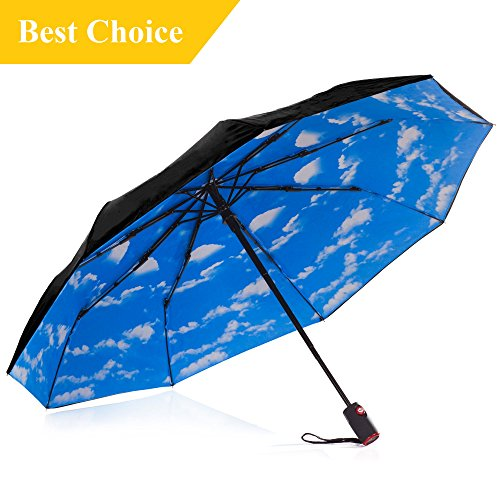 Best Compact Windproof Auto Open & Close Black Travel Umbrella with Blue Sky Canopy, Wind-Resistant, Strong & Waterproof, Micro Mini, Easy Touch Small & Portable by IHOR (Blue sky) (Umbrella For Wind Best Small)