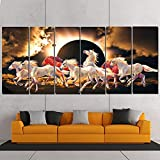 RAY DECOR 7 Horses Wall Painting - (PP Foil, 24 x 48 Inches, Multicolour)