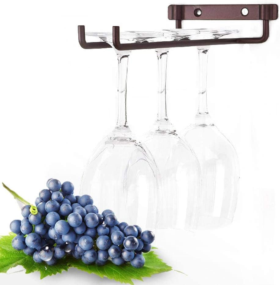 Wine Cup Rack, Single Row Chrome Finish Iron Glasses Holder Wall Mounted Wine Cup Rack Kitchen Home Bar Shelves Decoration(Matte Copper) Matte Copper