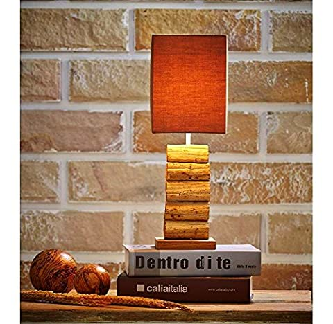 O'THENTIQUE Driftwood Table Lamp   Natural Rustic Reclaimed Teak Wood   Handmade Earthy Finished   Brown Shade perfect as Desk Lamp, Bedside Lamp for Bedroom, Living Room, Cabin, Beach House, (Lamps For Bedrooms Beach)