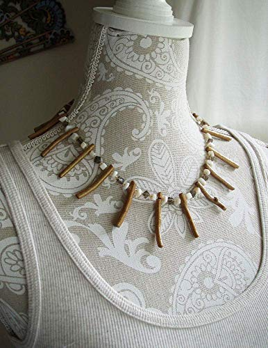 Golden Coral Stick Smoky Quartz Mother of Pearl Shell Statement Necklace Antique Bronze Finish Clasp