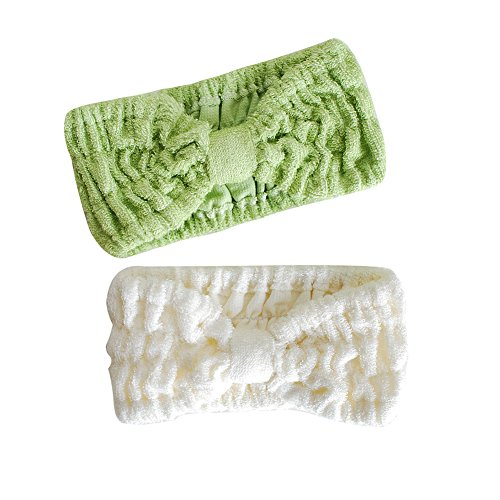 Ladies Fashion Bamboo Fiber Wide Bow Towel Elastic Hair Band Hairlace Headband Hair Bandeau Snood For Washing Face Cosmetic Makeup (2pcs( White+ (Green Face Makeup)