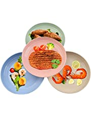 TIMESETL 4 Pack Lightweight Wheat Straw Plates, 9inch Unbreakable Dishes and Plates, Dishwasher & Microwave Safe Plates, Healthy & Eco-Friendly for Kids Children Toddler & Adult