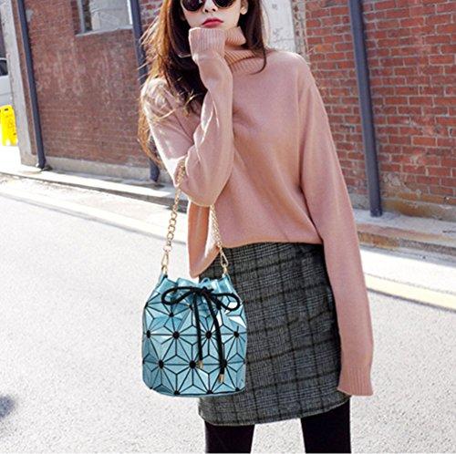 Flash Bag Shoulder Bucket Geometric Leisure Laser Lingge Bag Luminous Women Blue Handbag xqZO0A