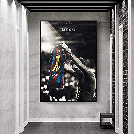 fdgdfgd Fu/ßballstar Lionel Messi Retro Poster drucken Fu/ßballspieler Leinwand Malerei Raum Wandkunst Bild Hauptdekoration Bild
