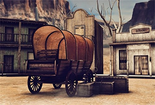LFEEY 10x8ft Wild West Vintage Bank Buliding Backdrop Western Shabby Wooden Old Carriage Crates on Town Street Photo Background for Portraits Travel Photo Booth Props ()