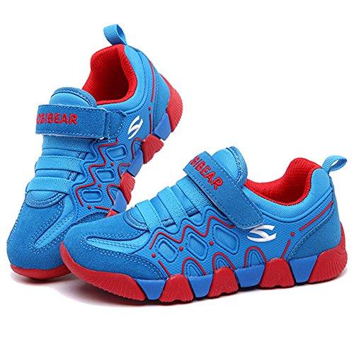 ukStore Junge Mädchen Sport Schuhe Low-Top Turnschuhe Hallenschuhe Laufschuhe Trekking Wander Sneaker Kinder Outdoor Straßen Freizeit Shoes Blau