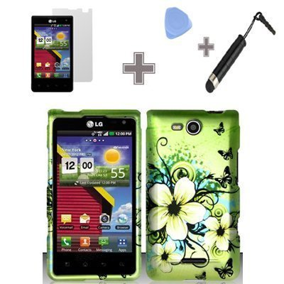 BY champper Rubberized Green Hawaiian Flower Snap on Design Case Hard Case Skin Cover Faceplate for LG Lucid 4G /Connect 4G VS840 Case/Screen Protector Film /Case Opener/Stylus Pen