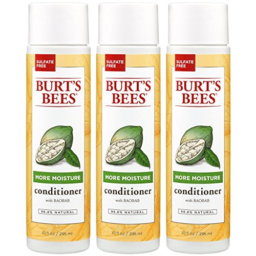 Burts Bees More Moisture Baobab Conditioner, Sulfate-Free Conditioner - 10 Ounce Bottle (Pack of 3)