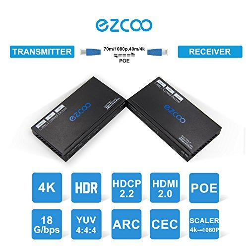 EZCOO 4K HDMI 2 0 HDBaseT Extender 230ft 1080P/ 130ft 4K Cat 5e/6,ARC SPDIF  Audio Breakout, Uncompressed 4K 60Hz 4:4:4 18G HDR 10 HDCP 2 2, 4K/1080P