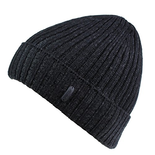 (Connectyle Outdoor Classic Bassic Men  's Warm Winter Hats Thick Knit Long Cuff Beanie Cap with Lining, 55 60cm, Black)