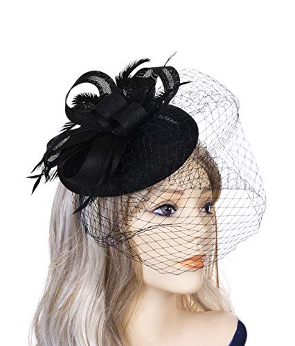 Fascinator Hats for Women Pillbox Hat Mesh Feathers Veil Headband and a Forked Clip Tea Party Headwear for Girls Wedding Party Church Cocktail Derby Royal Banquet(Black)