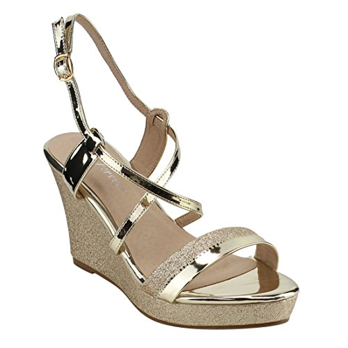 FOREVER FQ51 Women's Glitter Strappy Wrapped Wedge Heel Platform Sandals, Color Gold, ()